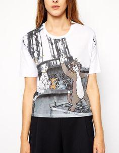 Paul & Joe Sister Exclusive For ASOS T-Shirt in Disney Aristocats Eiffel Tower Print