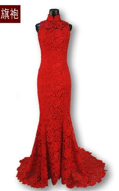 Red lace wedding dress. Omg!!! Beautiful!!! Not for my wedding but its just lovely!