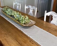 Embroidery farmhouse house table runner | Etsy Farmhouse Table Runners, Farmhouse Style Table, Ruffle Pillow, Striped Table Runner, Ticking Fabric, Green Wallpaper, Floral Pillows, Kitchen Colors, Porch Decorating