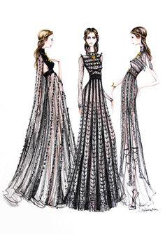 Fashion illustration - couture dress sketches // Alexandra Nea
