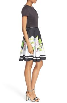 Free shipping and returns on Ted Baker London 'Vidaa' Floral Fit & Flare Dress at Nordstrom.com. A striking border of lush blossoms is set against the cool sophistication of black and white on a stretch-jersey dress topped with a pleated neckline. A slim belt accentuates the waist-whittling silhouette. Floral Bridesmaids, Plus Size Bridesmaid, Fit Flare Dress, Fit And Flare, Dresses For Work, Summer Dresses, Whittling, Nordstrom Dresses, Blossoms