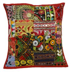 """Ethnic Multicolor Cushion Cover Kutch Embroidered Patchwork Pillow Case 16""""  -  Ebay  $14.00"""