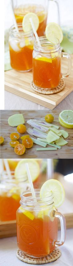 Ginger Lemongrass Detox Iced Tea - this beverage promises body detox with ginger and lemongrass. So easy to make and perfect for summer! | rasamalaysia.com