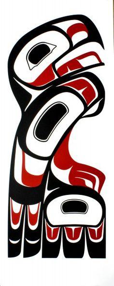 Adelaar. Herkenbare decoratieve stijl van de Haida Indianen.
