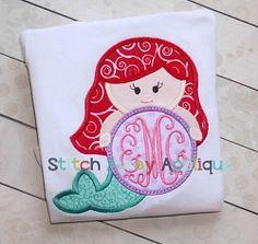 Mermaid Princess Monogram Circle Applique - 4 Sizes! | What's New | Machine Embroidery Designs | SWAKembroidery.com Stitch Away Applique