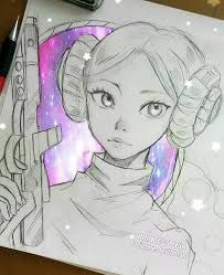 Anime Drawings She fought in galactic wars, now she became a star in a peaceful galaxy, far, far away. Cool Drawings, Drawing Sketches, Sketching, Manga Art, Anime Art, Manga Anime, Galaxy Art, Anime Galaxy, Star Wars Art