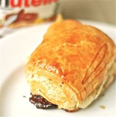 Easy Pain au Nutella. Cheater croissant made with frozen puff pastry and Nutella.