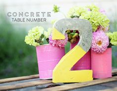 DIY Concrete Table Numbers