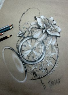 lilly clock tattoo