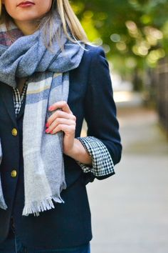 fall fashion: plaid scarf and navy blazer
