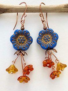 Boho Premium Czech Glass Turquoise Lapis Blue Flower Earrings Handmade Copper Wires Flower Earrings Rustic Picasso Flowers