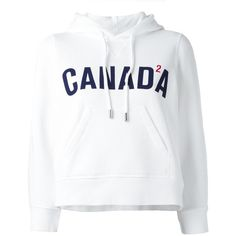 Dsquared2 Canada cropped hoodie ($465) ❤ liked on Polyvore featuring tops, hoodies, shirts, cropped hoodie, jackets, white, white shirt, crop shirt, white cotton hoodie and graphic shirts
