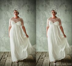 Plus Size Boho Wedding Dresses 2016 New Design See Though Neck Jewel Short Sleeve Applique Hollow Back Empire Waist Wedding Party Dress Beach Wedding Gowns Beautiful Bridal Dresses From Molly_bridal, $114.44| Dhgate.Com