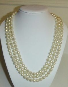 """457 Long Flapper Style White Heavy Hand Knotted Faux Pearl Necklace 60"""" 