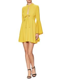 English聽Factory Bell Sleeve Dress with Center Front Slit and Tie