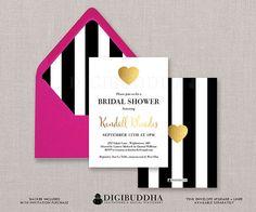 Black & White Stripe Bridal Shower Invitation Gold Heart Modern Faux Foil Wedding Invite FREE PRIORITY SHIPPING or DiY Printable- Kendall