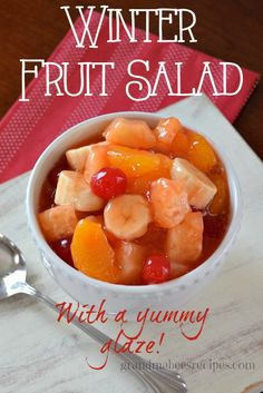 """// // I call this """"Winter Fruit Salad"""" because when it's 22° outside, it's not easy to find fresh fruit in season to make a really good fruit salad. This fruit salad recipe proves that you can. I h..."""