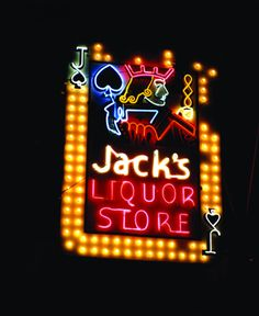 Jack's Liquor Store, vintage neon sign, Albuquerque, New Mexico by Tadson Bussey Cool Neon Signs, Vintage Neon Signs, Neon Light Signs, Advertising Signs, Vintage Advertisements, Vintage Ads, Lightroom, Neon Nights, Neon Rainbow