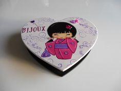 boîte à bijoux coeur / avec miroir / décorations poupée chinoise / rose pâle et…