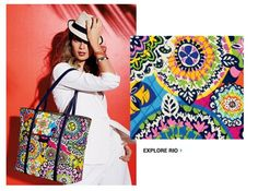 Vera Bradley's new color RIO calls for a fiesta!! Inspired by an island spirit and fashioned in a bright, happy palette, Rio is a party in a pattern. This vibrant color is perfect for those who love to play with print combinations, plan exotic getaways and settle in for sizzling paella and cool sangria. Pair Rio with dark navy, red orange or yellow gold for brilliant, lively spring looks. #verabradley #handbag #rio #spring2015 #style #fashion