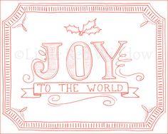 Joy to the World Christmas Carol Printable Print  by LittleRedWindow