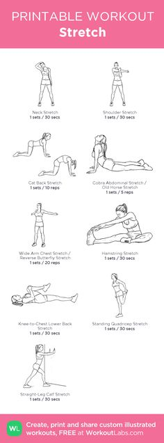 Stretch: my visual workout created at WorkoutLabs.com • Click through to customize and download as a FREE PDF! #customworkout