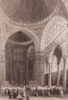 """Süleymaniye Cami içi Gravür-William Henry Bartlett tarafından çizilmiş, Miss Julia Pardoe'nin 1838 yılında Londra'da basılan """"The Beauties of the Bosphorus"""" adlı meşhur seyahatnamesi nde yer almış orjinal çelikbaskı gravür. Bu seyahatname Osmanlı gündelik yaşamı ve İstanbul güzelliklerini anlatmakta olup 19. yüzyıl Avrupası'nın en çok ilgi çeken kitaplarından biri olmuştur. Kanuni Sultan Süleyman tarafından yaptırılmış olan külliyenin camisi gelen yabancılar tarafından her zaman için resmedi"""