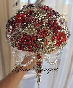 "9"" Custom Red Bridal Brooch Bouquet $485.00 (PROMO)  READY TO SHIP !!!  No wait on this one of kind Bouquet.  Lrg 9"" (28 in Circumference) Bouquet.  Custom made"