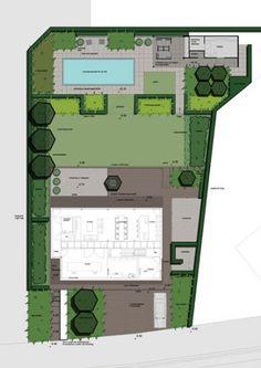 Lawn as central breathing space in rectangular garden design.