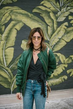 Dress-up bomber jackets with wrap top and our feather-bow choker (Chicago fashion blogger @Sportasnista)