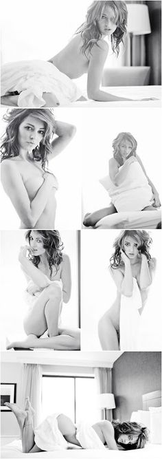 Boudoir Photography - Portrait - Black and White - Poses With a White Sheet