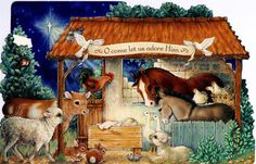 (O come let us adore Him) Christmas Nativity, Holy Night, Holi, Let It Be, Painting, Art, Cards, Xmas, O Holy Night