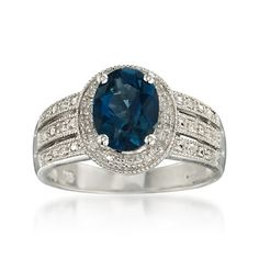 2.00 Carat London Blue Topaz Ring With Diamonds in Sterling Silver - $112.50