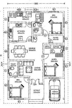 3 Bedroom Attached Singe Floor Budget House Plan with Prayer Room - Free Kerala Home Plans Low Cost House Plans, 2bhk House Plan, Free House Plans, Three Bedroom House Plan, Simple House Plans, Beautiful House Plans, Model House Plan, Duplex House Plans, House Layout Plans