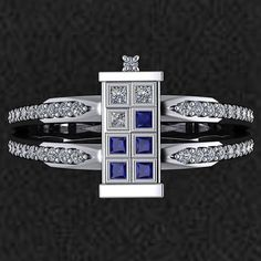 Like the Doctor himself, this ring is trendsetting and lovingly unique. It is made using natural SI quality diamonds, G-H color and Natural Blue