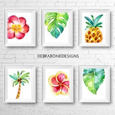 Set of 6 tropical prints instant download by DebraBondDesigns