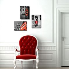 London photograph, wall art, Photography, Red telephone box, Black and White, wall decor