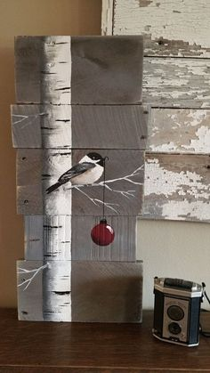 Kerst teken witte berk rode lamp Gray Wood Pallet Art