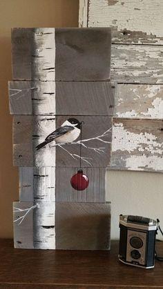 Weihnachten Zeichen, White Birch, rote Birne, grau-Holz-Paletten-Kunst, Hand painted White Birch, Weihnachts-Dekor, Upcycled, Wandkunst, Distressed Original Acrylbild auf aufgearbeiteten Paletten Bretter. Dieses einzigartige Stück ist 24 x 11 groß Dieses Stück eignet sich für einen personalisierten rustikalen Touch zu Ihrer Weihnachts-Dekoration. Perfekt für die dünne Wand-Raum oder einfach an die Wand lehnen. Alle meine Kreationen sind aus aufgearbeiteten Brettern gefertigt. Sie sind han...