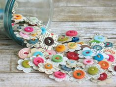 Handmade Paper Flower Embellishments for Scrapbooking Junk Journals Smash Books Bullet Journals Snail Mail with Vintage Paper and Buttons Handmade Scrapbook, Vintage Scrapbook, Bujo, Scrapbooking, Handmade Journals, Button Crafts, Vintage Paper, Bullet Journals, Decoration