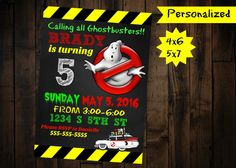 Ghostbusters Invitation - Printable - Digital - Ghostbusters Birthday Invitation - Ghostbusters Birthday Party by PurplePalaceDesigns on Etsy https://www.etsy.com/ca/listing/484888284/ghostbusters-invitation-printable