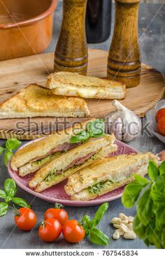 Pesto cheese sandwich, fast and delish meal with pesto