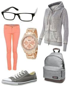 Peachy pink skinny jeans   grey jacket and backpack   watch