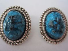 VINTAGE-EGYPTIAN-RIVAL-TURQUOISE-CABOCHON-Carved KING TUT Clip-on Antq Earrings #ClipOn