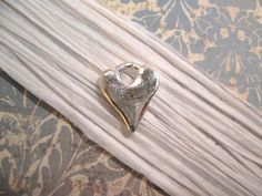 Rustic Hammered Heart Charm with Sterling Silver Plating from