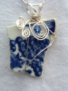 Blue Willow wire wrapped china pendant by OfSeaandShore on Etsy, $40.00