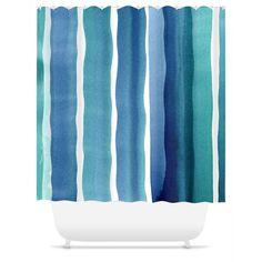 Aqua Salt Watercolor Stripe Shower Curtain