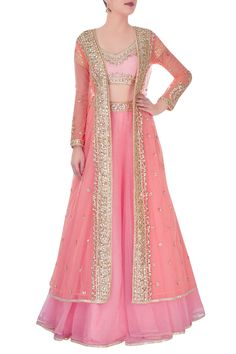 Shop Preeti S Kapoor - Peach gota work lehenga Latest Collection Available at Aza Fashions Indian Gowns Dresses, Indian Fashion Dresses, Indian Designer Outfits, Pakistani Dresses, Designer Dresses, Eid Dresses, Girls Dresses, Frock Design, Indian Wedding Outfits