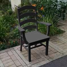 A & L Furniture Poly Ladderback Outdoor Dining Arm Chair - 4113-AB ARUBA BLUE