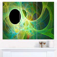 "Designart 'Green Fractal Angel Wings' Abstract Wall Art Canvas - 3 Panels 36""x28"""